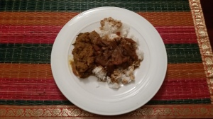 Here is what we had for dinner Beef Poricha Curry and Puli Kulambu with Rice